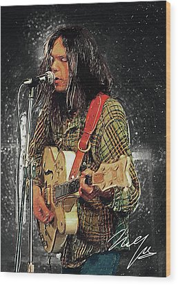 Neil Young Wood Print by Taylan Apukovska