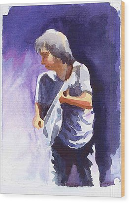 Neil Young With Gretsch White Falcon Wood Print by Ken Daugherty