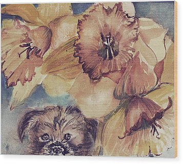 Wood Print featuring the painting Nellie Mae by Mindy Newman
