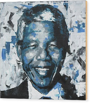 Wood Print featuring the painting Nelson Mandela II by Richard Day