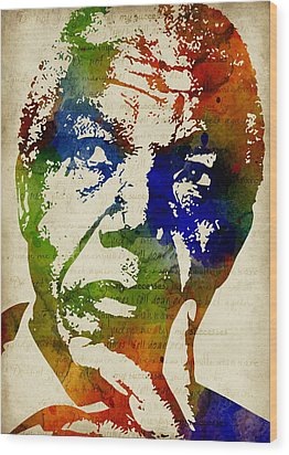 Nelson Mandela Watercolor Wood Print by Mihaela Pater
