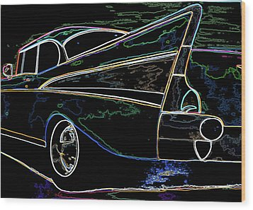 Neon 57 Chevy Bel Air Wood Print