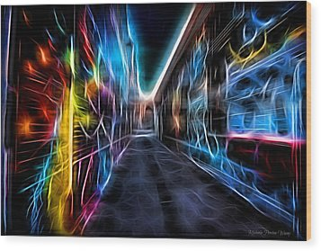 Wood Print featuring the photograph Neon Aleey by Michaela Preston