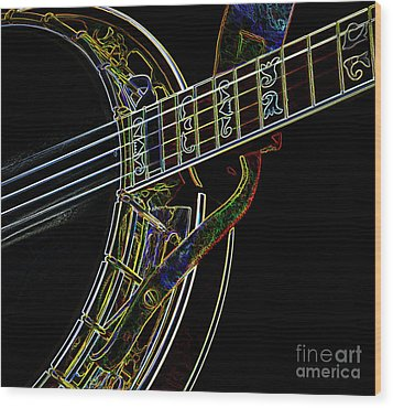 Wood Print featuring the photograph Neon Banjo  by Wilma Birdwell
