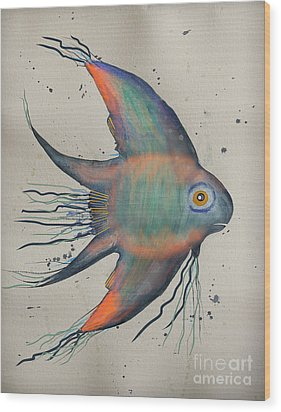 Wood Print featuring the mixed media Neon Blue Fish by Walt Foegelle