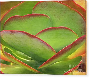 Neon Cactus Wood Print by Kathie McCurdy