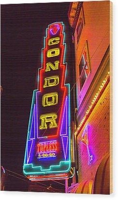 Neon Condor San Francisco Wood Print