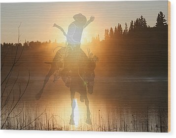 Neon Cowboy Wood Print by Andrea Lawrence