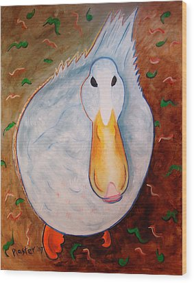 Neon Duck Wood Print by Scott Plaster