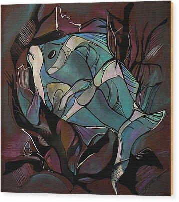 Neon Fish Wood Print by Deyana Deco