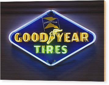 Neon Goodyear Tires Sign Wood Print by Mike McGlothlen