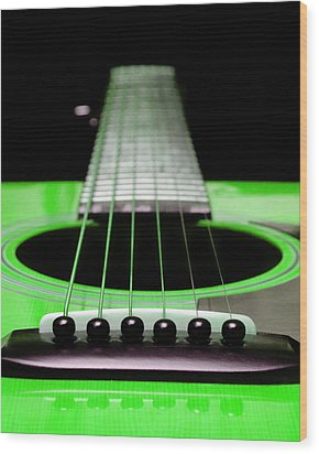 Neon Green Guitar 18 Wood Print by Andee Design