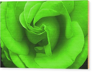 Neon Green Rose Wood Print