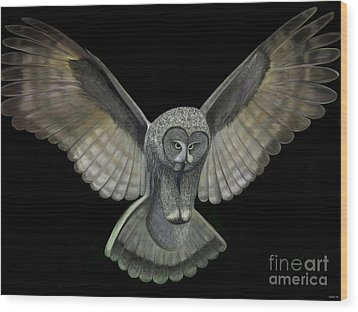 Neon Owl Wood Print by Rand Herron