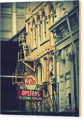 Neon Oysters Sign Wood Print by Perry Webster