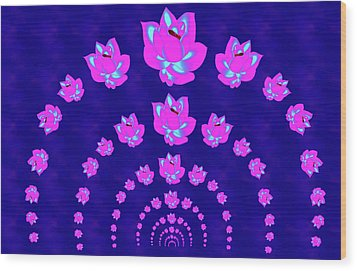 Neon Pink Lotus Arch Wood Print