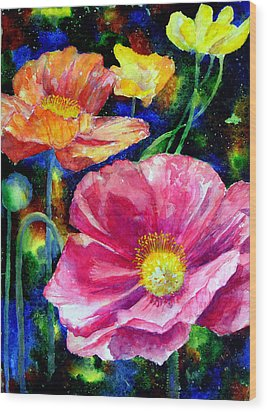 Neon Poppies Wood Print by Mary Giacomini
