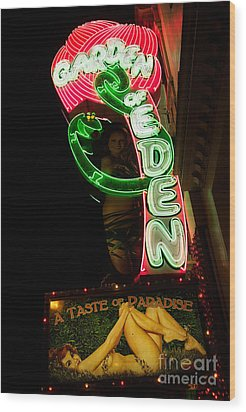 Wood Print featuring the photograph Neon Sign At Night In North Beach San Francisco 1 by Jason Rosette