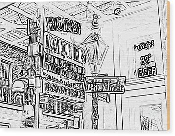 Neon Sign On Bourbon Street Corner French Quarter New Orleans Black And White Photocopy Digital Art Wood Print by Shawn O'Brien