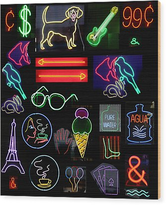 Neon Sign Series With Symbols Of Various Shapes And Colors Wood Print by Michael Ledray