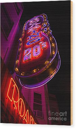 Wood Print featuring the photograph Neon Signs At Night In North Beach Low Angle Ve by Jason Rosette