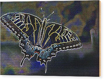 Neon Swallowtail Butterfly Wood Print