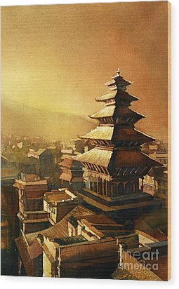Nepal Temple Wood Print by Ryan Fox