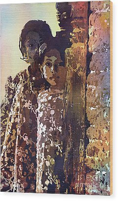 Wood Print featuring the painting Nepalese Girls by Ryan Fox