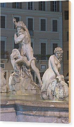 Neptune And Nereid Wood Print by Fabrizio Ruggeri