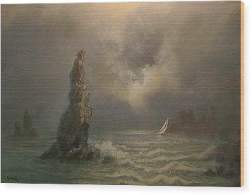 Neptune's Finger Wood Print by Tom Shropshire