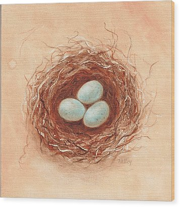 Wood Print featuring the painting Nest In Umber by Pam Talley