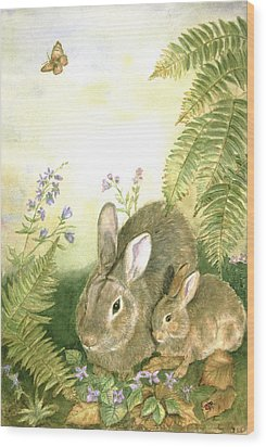 Nesting Bunnies Wood Print by Patricia Pushaw