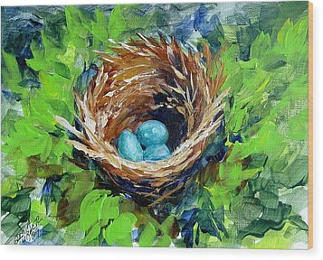 Wood Print featuring the painting Nesting Eggs by Gloria Turner