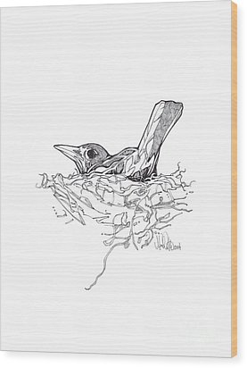 Wood Print featuring the drawing Nesting by Michael Ciccotello