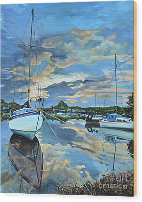 Wood Print featuring the painting Nestled In For The Night At Mylor Bridge - Cornwall Uk - Sailboat  by Jan Dappen