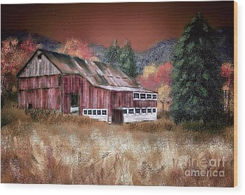 Wood Print featuring the digital art Nestled In The Laurel Highlands by Lois Bryan