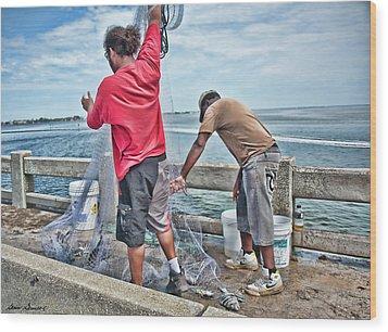 Net Fishing On Cortez Bridge  Wood Print