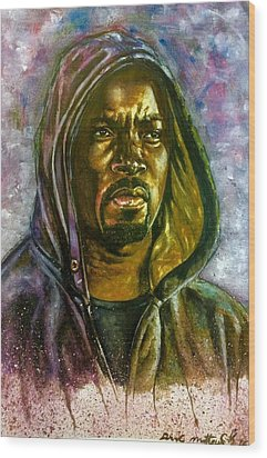 Wood Print featuring the painting  Netflix Luke Cage by Darryl Matthews