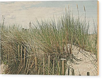 Netherlands - Dunes And Lighthouse Wood Print