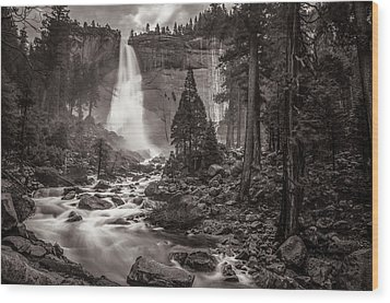 Wood Print featuring the photograph Nevada Fall Monochrome by Scott McGuire