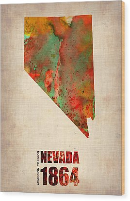 Nevada Watercolor Map Wood Print by Naxart Studio
