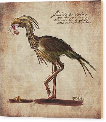 Never Bird Wood Print by Mandem