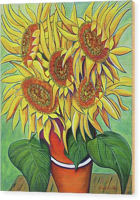 Never Enough Sunflowers Wood Print by Andrea Folts