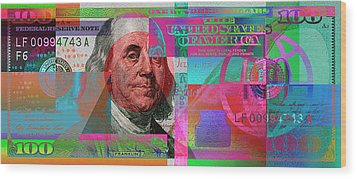 New 2009 Series Pop Art Colorized Us One Hundred Dollar Bill  No. 3 Wood Print