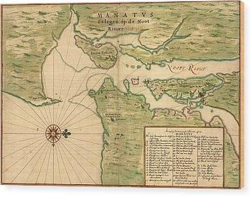 New Amsterdam In 1639. Earliest Map Wood Print by Everett