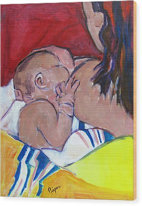 Wood Print featuring the painting New Born by Betty Pieper