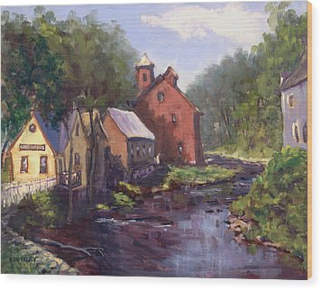 New Boston On The River Wood Print