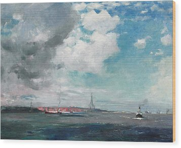 New Brighton From The Mersey Wood Print by JH Hay