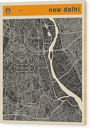 New Delhi Map Wood Print by Jazzberry Blue