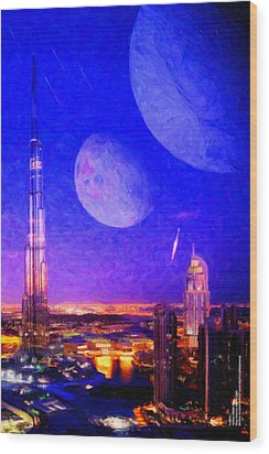 New Dubai On Tau Ceti E Wood Print by Chuck Mountain